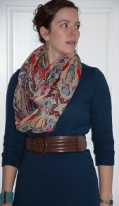 BeltedDressWScarf