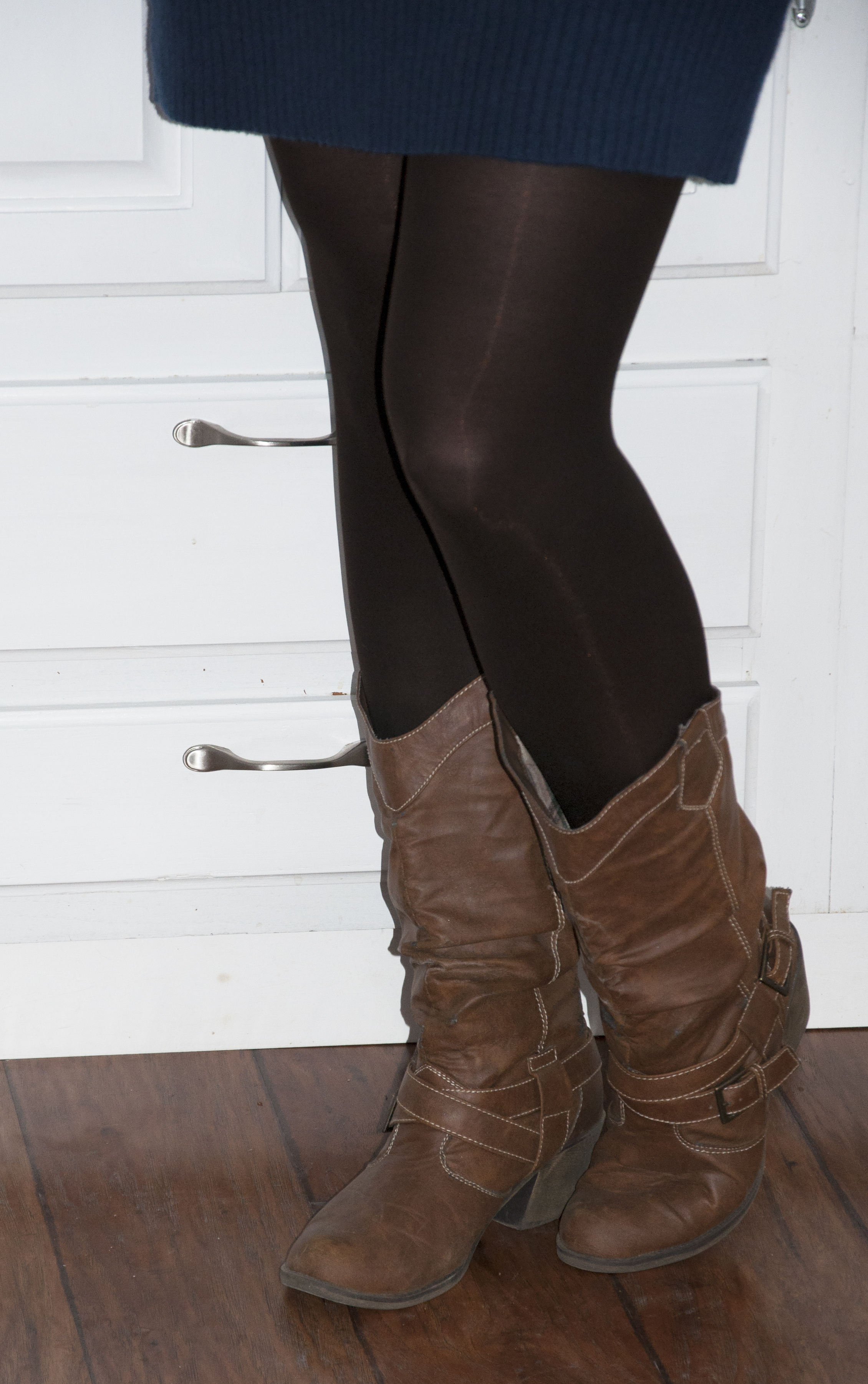 the belted dress with tights and boots stylishtwo