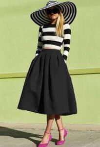 Sheinside Black Flare Pleated Midi Skirt