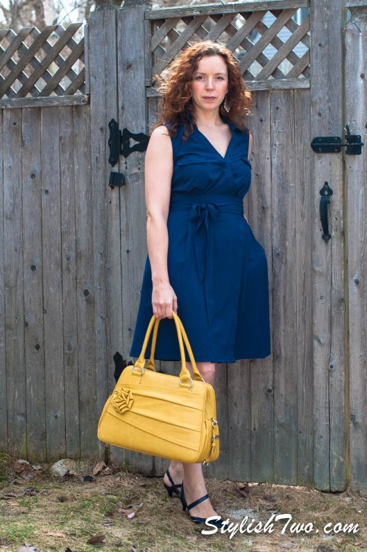 Pair your wrap dress with a pop of color, yellow is very in this year.